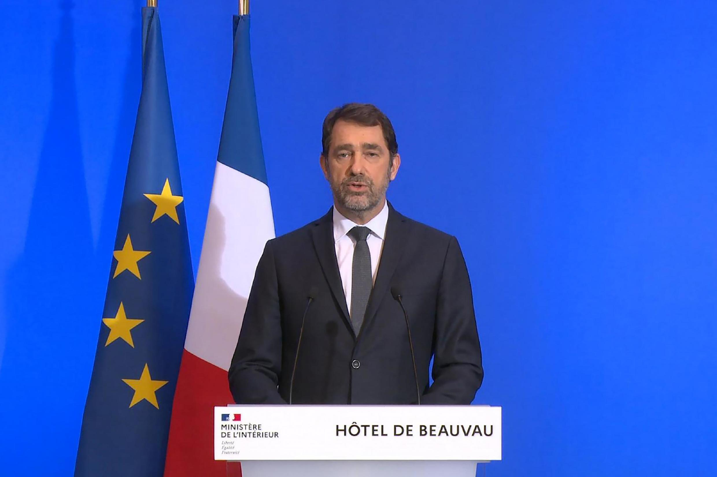 French Interior Minister Christophe Castaner detailing France's confinement measures, including delaying the second round of the local elections, 16 March 2020.