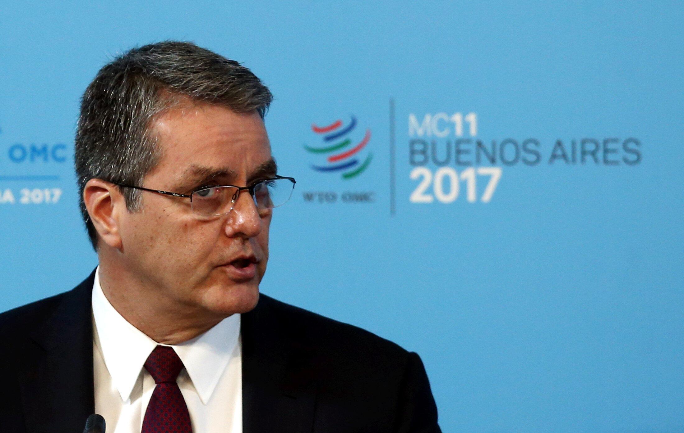 Le directeur général Roberto Azevedo, lors de la 11e conférence ministérielle de l'Organisation Mondiale du Commerce (OMC), le 10 décembre 2017.