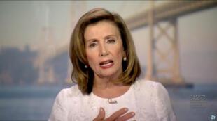 La présidente de la Chambre des représentants, Nancy Pelosi, le 19 août 2020.