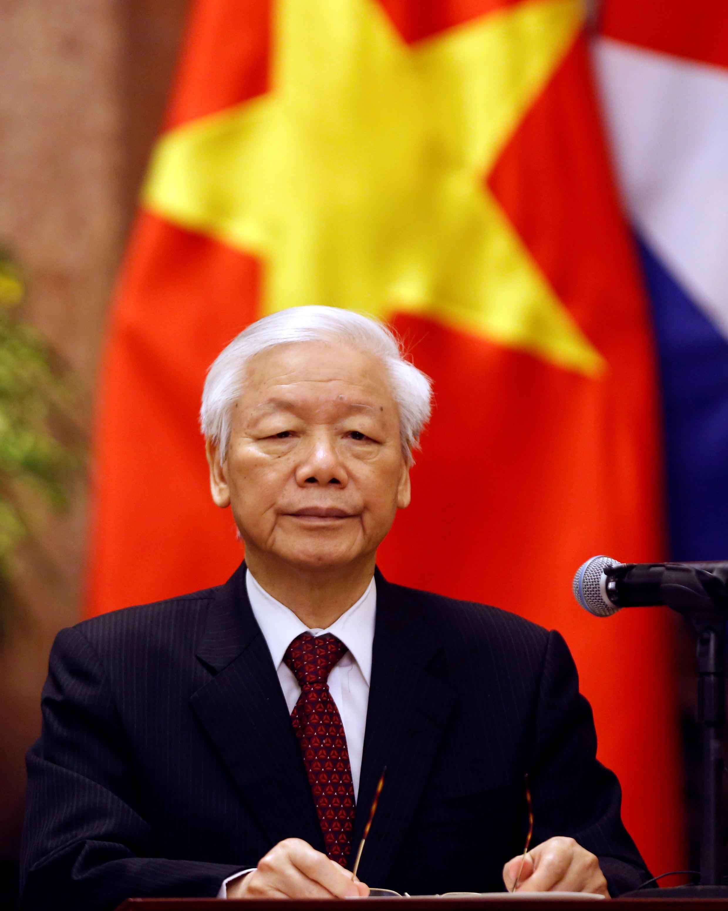 Tổng bí thư kiêm chủ tịch nước Nguyễn Phú Trọng trong dịp tiếp chủ tịch Cuba tại Hà Nội, ngày 09/11/2018.