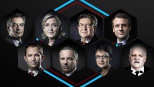 Certains candidats à l'élection présidentielle française de 2017.