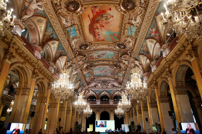 Toàn cảnh Phòng Khánh Tiết, Tòa Đô Chính Paris (Pháp), nơi diễn ra hội nghị GovTech về Internet. Ảnh chụp ngày 12/11/2018.