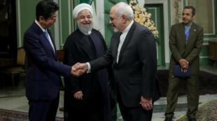 محمد جواد ظریف، حسن روحانی و شینزو آبه در تهران