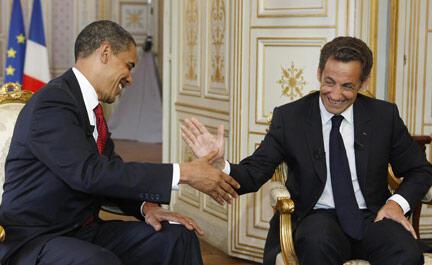 Obama and Sarkozy in Caen in June 2009