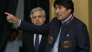 Evo Morales, le président bolivien durant un message à son peuple, au palais présidentiel, à La Paz, le 31 décembre 2010.