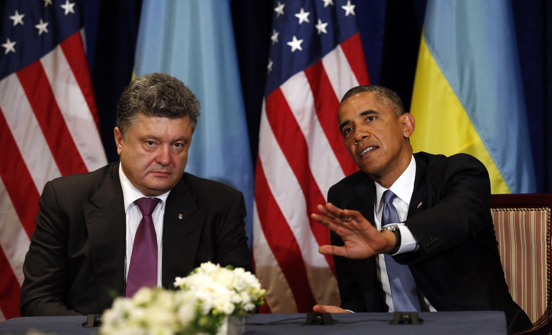 O presidente americano Barack Obama  durante encontro com o presidente ucraniano, Petro Poroshenko, nesta quarta-feira, 4 de junho de 2014.