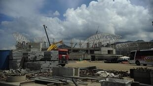 Obras em ritmo acelerado no parque Olímpico das Olimpíadas de 2016, no Rio de Janeiro