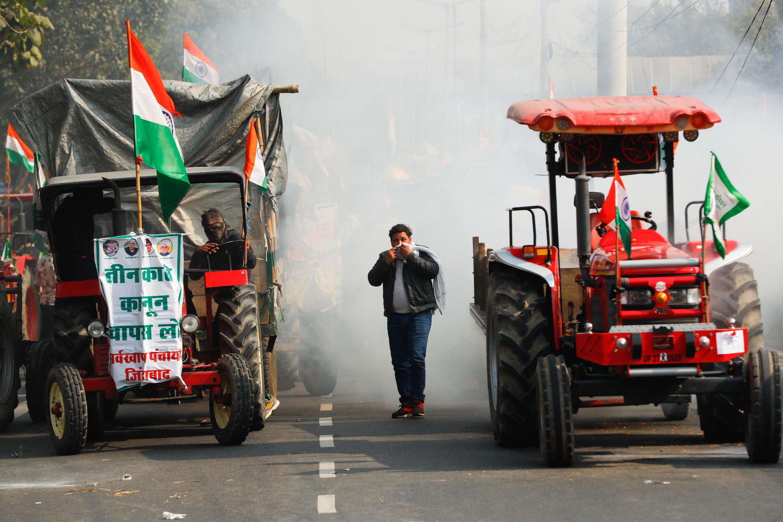 法广存档图片:印度农民在首都新德里示威 摄于 2021年1月26日星期二 Image d'archive RFI : Inde - Protestation d'agriculteurs, le 26 janvier, à New Delhi.