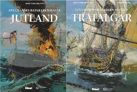 Couvertures de deux des albums de la collection «Les grandes batailles navales» de Jean-Yves Delitte.