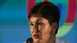 Thelma Aldana, el 10 de marzo de 2019 en la asamblea general del Movimiento Semilla, ciudad de Guatemala.