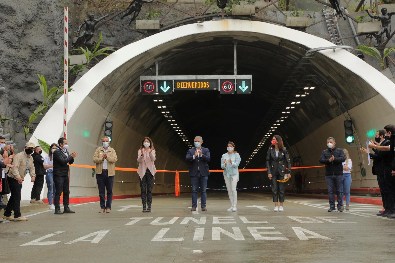 Inauguration du tunnel La Linea par le président colombien Ivan Duque, le 4 septembre 2020.