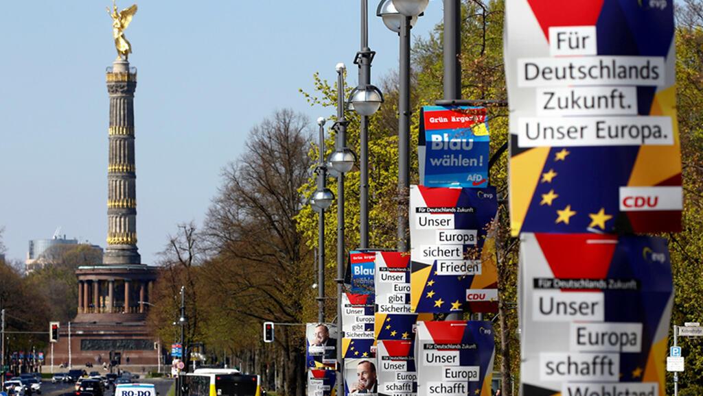 Affiches des candidats aux élections européennes, Berlin, le 15 avril 2019.