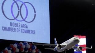 Une maquette d'A320 à Mobile (Alabama), aux Etats-Unis, le 2 juillet.