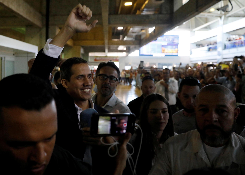 Juan Guaido lors de son retour à Caracas le 4 mars 2019, après une tournée dans des pays de la région.