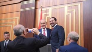 Le président du Parlement libanais Nabih Berry et le Premier ministre Saad Hariri, après leur réeélection, le 23 mai 2018 à Beyrouth.