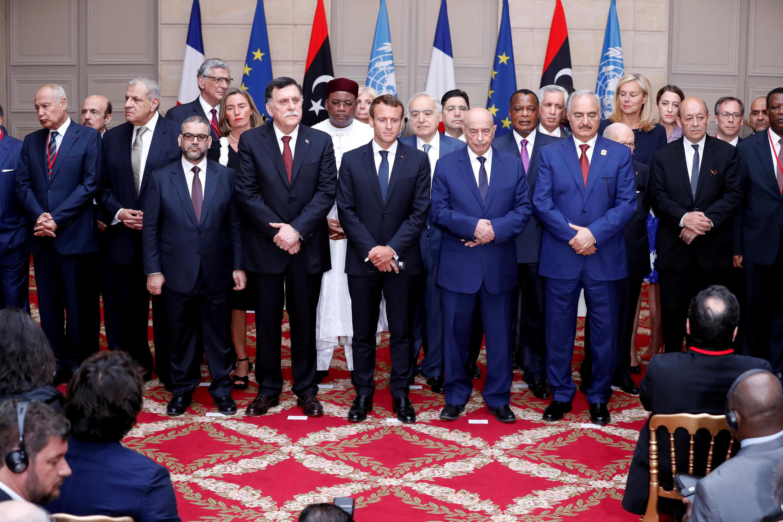 Les principaux protagonistes du conflit libyen et des représentants étrangers ont été réunis au palais de l'Elysée le 29 mai 2018.
