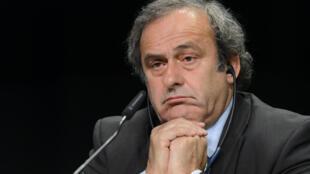 Michel Platini en mai 2015 lors d'un congrès de la Fifa à Zurich.