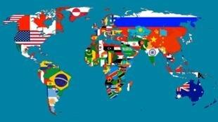Ramani ya dunia iliyopambwa na bendera ya mataifa mbalimbali