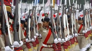 Policewomen march during India's 67th Independence Day celebrations in the northern Indian city of Chandigarh, 15 August 2013