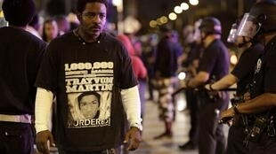 Manifestation à Los Angeles, après l'annoncé du verdict, le 13 juillet 2013.