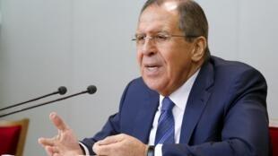Sergueï Lavrov, le ministre russe des Affaires étrangères, durant sa conférence de presse annuelle, le 26 janvier 2016.