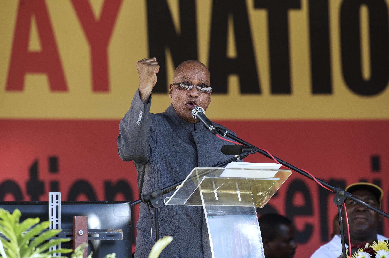 Le président sud-africain Jacob Zuma délivre son discours au stade Peter-Mokaba à Polokwane, le 1er mai 2014.