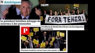 Os jornais europeus repercutem a votação na Câmara dos Deputados que salvou o presidente Michel Temer de um julgamento por organização criminosa e obstrução de Justiça.