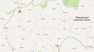 La ville de Bocaranga, située dans le nord-ouest de la Centrafrique.