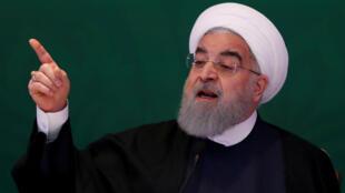 Tổng thống Iran Hassan Rouhani phát biểu trong cuộc họp với các lãnh đạo Hồi giáo tại Hyderabad, Ấn Độ, 15/02/2018.