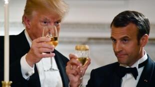 ضیافت شام ترامپ در کاخ سفید به افتخار امانوئل ماکرون، آوریل 2018
