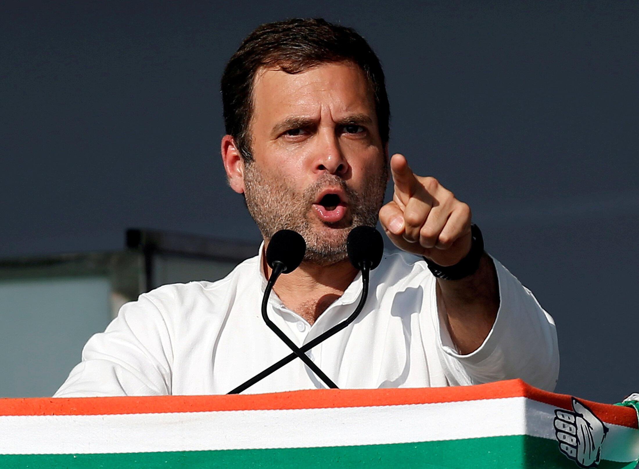 Le président du parti du Congrès Rahul Gandhi, ici lors d'un meeting à Gandhinagar, dans le Gujarat, le 12 mars 2019.