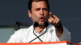 Rahul Gandhi, President of  theCongress party, during a public meeting in Gandhinagar, Gujarat.