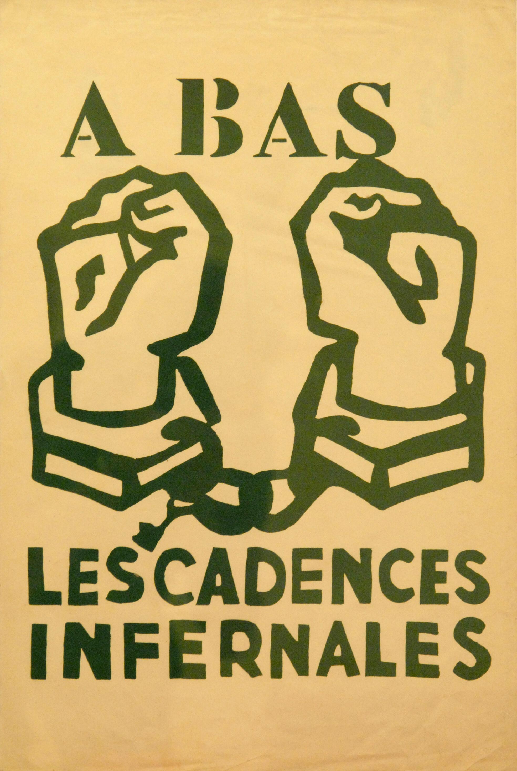 Affiche datant des manifestations ouvrières et étudiantes de Mai 1968 en France.