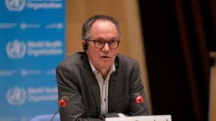 Peter Ben Embarek, le chef de la mission de l'OMS en Chine, lors d'une conférence de presse à Genève le 12 février 2021.