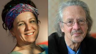 Olga Tokarczuk et Peter Handke, lauréats des prix Nobel de littérature 2018 et 2019.