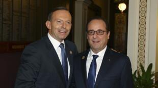 French President François Hollande and Australian Prime Minister Tony Abbott in Brisbane, 15 November 2014.
