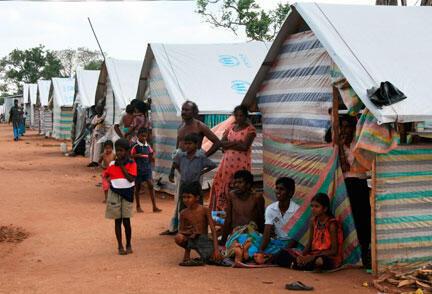 Des civils tamouls dans le camps de déplacés de Menikfam Vanni, près de Chettekulam, au nord du Sri Lanka, le 1er mai 2009.