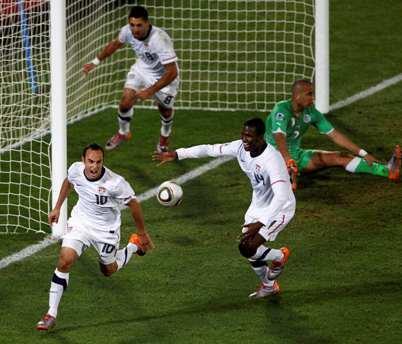 Landon Donovan tras marcar el gol de la victoria  y de la clasificación, 23 de junio.