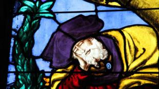 El sueño de Jesé, detalle de un vitral del siglo XVI, iglesia de Saint Pierre de Montfort-L'Amaury, en Yvelines (suburbio de Paris).
