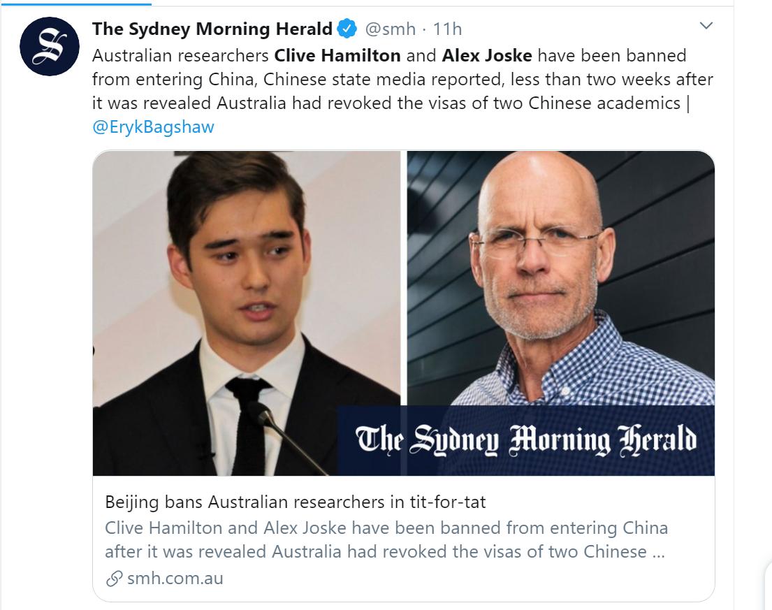 北京決定禁止澳洲學者克萊夫-漢密爾頓(Clive Hamilton右)和周安瀾(Alex Joske)入境中國