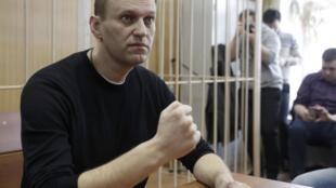 Алексей Навальный в Тверском районном суде, 27 марта 2017.