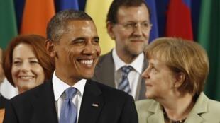 Barack Obama et Angela Merkel, lors du Sommet du G20 de Los Cabos (Mexique), le 18 juin 2012.