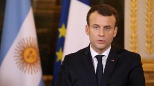 法國總統馬克龍出席記者會資料圖片