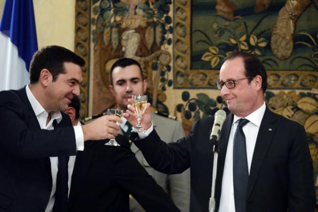 Alexis Tsipras  e François Hollande.22 de Outubro 2015.Atenas