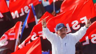 Le président du Nicaragua Daniel Ortega, lors de la célébration du 39e anniversaire de la révolution sandiniste, le 19 juillet 2018, à Managua.