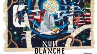 """Cartaz da """"Nuit Blanche"""" 2018, um oferecimento cultural da Prefeitura de Paris."""