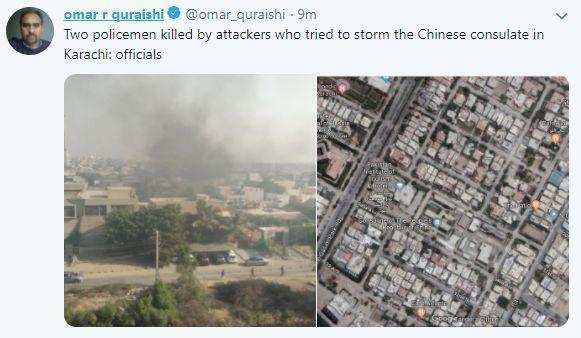 巴基斯坦記者在推特上發布的現場照片
