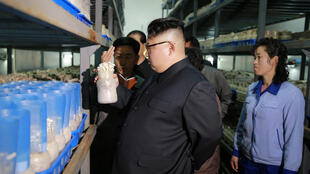 图为朝鲜领导人金正恩视察平壤一家食品厂