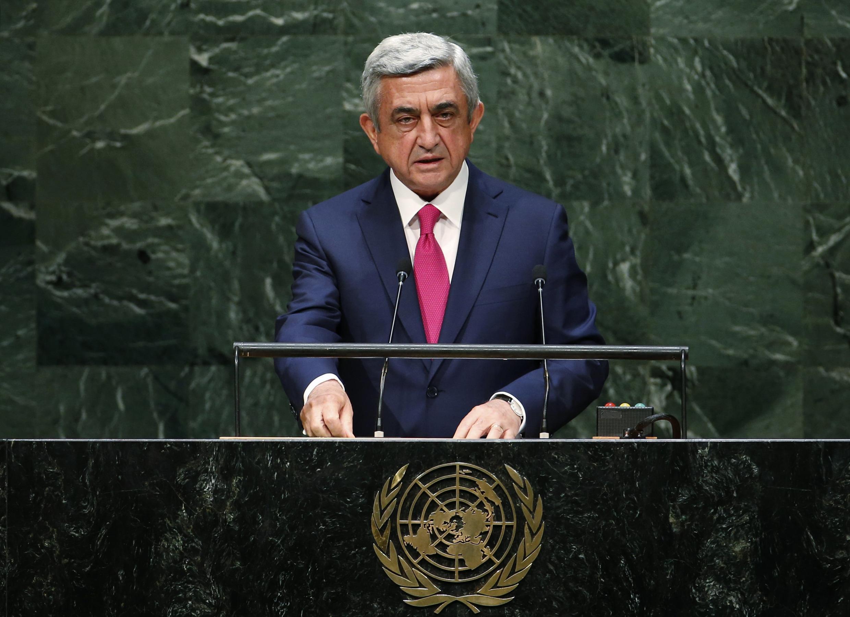 Серж Саргсян на трибуне Генассамблеи ООН 24 сентября 2014 г.