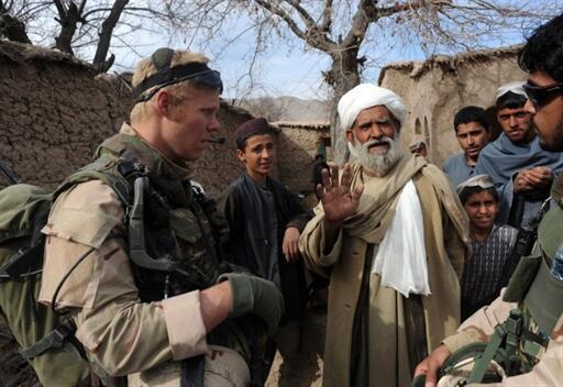 A Dutch lieutenant on patrol in an Afghan village